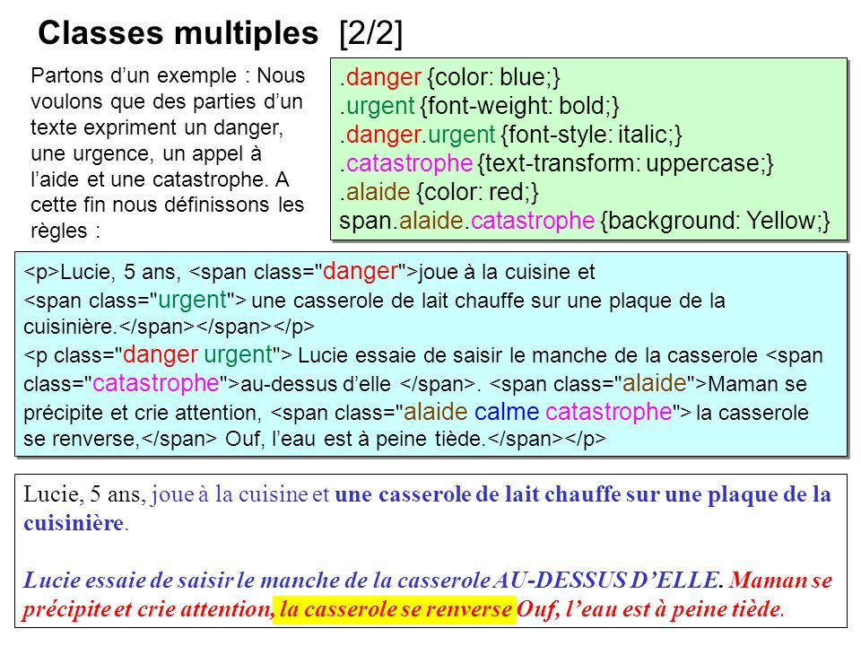 Classes multiples [2/2] .danger {color: blue;}